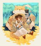 1girl animal brown_hair cat dress forest gloves hat irono16 jewelry looking_at_viewer nature octopath_traveler open_mouth short_hair simple_background sky smile tressa_(octopath_traveler)