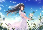 1girl bangs bare_arms blue_sky blush breasts brown_hair bug butterfly clouds commentary day dress floating_hair flower flowers_(innocent_grey) green_eyes head_wreath highres holding holding_flower insect lily_(flower) long_hair looking_at_viewer medium_breasts outdoors parted_lips plant shirahane_suou short_sleeves sidelocks sky solo white_dress white_flower wide_shot wind yongheng_zhi_wu