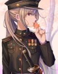 1girl absurdres bangs black_coat black_hat breast_pocket buttons epaulettes eyebrows_visible_through_hair hat highres holding holding_leaf ibuki_(ibuki0118) katana leaf long_hair long_sleeves looking_at_viewer looking_to_the_side maple_leaf medal military military_uniform mole mole_under_eye original peaked_cap pocket ponytail profile seigaiha sheath sheathed sidelocks silver_hair solo sword uniform upper_body violet_eyes weapon