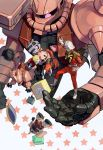 beet_aki blonde_hair blue_eyes boots char_aznable child epaulettes gelgoog_s_char_custom gift gundam helmet highres mask mecha mobile_suit_gundam shield star starry_background time_paradox z'gok_char_custom zaku_ii_s_char_custom zeong
