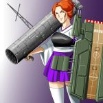 1girl cheekbones colony_laser commentary_request cosplay gun gundam hair_bun holding holding_gun holding_weapon kaga_(kantai_collection) kaga_(kantai_collection)_(cosplay) kantai_collection kycilia_zabi moto_rom_moppara muneate nontraditional_miko parody purple_skirt redhead skirt solo space_colony thigh-highs weapon white_legwear