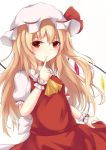 1girl alternate_hair_length alternate_hairstyle ascot blonde_hair closed_mouth commentary_request crystal eyebrows_visible_through_hair finger_to_mouth flandre_scarlet hat index_finger_raised kashiwagi_yamine long_hair looking_at_viewer puffy_short_sleeves puffy_sleeves red_eyes red_skirt short_sleeves simple_background skirt smile solo touhou white_background white_hat wings wrist_cuffs yellow_neckwear