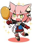 +_+ 1girl 7th_dragon 7th_dragon_(series) :d animal_ear_fluff animal_ears bangs belt belt_buckle bike_shorts black_footwear blue_jacket boots buckle cat_ears chibi chicken_leg colored_shadow commentary_request drooling eyebrows_visible_through_hair fang food full_body gloves green_eyes grey_shorts hair_between_eyes hair_bobbles hair_ornament harukara_(7th_dragon) holding holding_food jacket knee_boots long_sleeves naga_u one_side_up open_mouth pink_hair red_gloves shadow short_shorts shorts smile solo sparkle standing standing_on_one_leg striped striped_legwear thigh-highs thighhighs_under_boots white_background white_belt