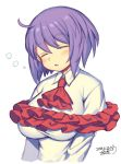 1girl ascot bangs blush breasts bubble closed_eyes commentary_request dated eyebrows_visible_through_hair frills hair_between_eyes head_tilt iroyopon large_breasts long_hair nagae_iku no_hat no_headwear purple_hair red_neckwear shirt short_hair signature simple_background sleeping solo touhou upper_body white_background white_shirt