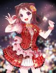 1girl :d asymmetrical_sleeves back_bow bang_dream! bangs blurry blurry_background blush bokeh bow bracelet brown_hair clenched_hand corsage cowboy_shot depth_of_field dew_(dltmf2266) flower flower_bracelet frilled_bow frilled_sleeves frills hair_bow hair_flower hair_ornament holding holding_star jewelry looking_at_viewer medium_hair neck_ribbon open_mouth overskirt pink_bow pink_flower pleated_skirt red_bow red_neckwear red_shirt red_skirt ribbon shirt short_sleeves skirt smile solo sparkle star star_hair_ornament striped striped_shirt toyama_kasumi vertical-striped_shirt vertical-striped_skirt vertical_stripes violet_eyes yellow_flower