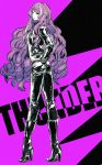 1girl black_footwear black_jacket black_pants boots floating_hair full_body hand_on_hip high_heel_boots high_heels highres jacket knee_boots limited_palette long_hair long_sleeves macross macross_delta mikumo_guynemer nail_polish open_clothes open_jacket pants parted_lips purple_background purple_hair red_nails shimatani_azu sketch solo standing very_long_hair violet_eyes