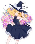 1girl alternate_costume bangs bat black_dress black_hat blonde_hair bow braid breasts cross dress eyebrows_visible_through_hair frilled_dress frills hat hat_bow hat_ribbon highres kirisame_marisa komachi_(pixiv) long_hair looking_at_viewer open_mouth ribbon sleeveless sleeveless_dress smile solo swept_bangs touhou trick_or_treat white_bow white_ribbon witch_hat yellow_eyes