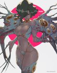 absurdres armor bikini_armor black_hair black_nails breasts claws cleavage dominatrix extra_eyes ferakia_(langrisser) hair_over_one_eye highres langrisser lejeanx3 nail_polish navel simple_background standing thighs twitter_username watermark web_address white_legwear