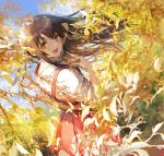 1girl 888myrrh888 :d bangs blue_sky branch brown_hair commentary_request dress hakama_skirt highres leaf long_hair looking_at_viewer looking_back open_mouth original red_dress shirt sky sleeves_rolled_up smile white_shirt yellow_eyes