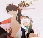 1boy 1girl bangs brown_hair collarbone dot_nose egasumi eye_contact eyebrows_visible_through_hair gradient_eyes grey_background hair_ornament hand_on_another's_head hands_up japanese_clothes katana katanagatari knees_together_feet_apart leaf long_hair looking_at_another maple_leaf multicolored multicolored_eyes navel parted_bangs parted_lips pink_eyes ponytail profile ringlets roku_(tsua-kihuyu) scabbard sheath sheathed shirtless sitting sword tareme togame tsurime very_long_hair weapon white_background yasuri_shichika