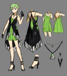 1girl black_gloves blue_eyes collarbone dress earrings full_body gloves green_hair grey_background high_heels highres jewelry looking_at_viewer macross macross_delta necklace pointy_ears pumps reina_prowler shimatani_azu short_dress short_hair simple_background sketch sleeveless sleeveless_dress solo standing