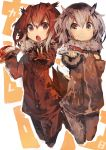 2girls :o absurdres bird_tail brown_coat brown_eyes brown_hair closed_mouth coat commentary_request curry curry_rice eurasian_eagle_owl_(kemono_friends) folded food full_body fur-trimmed_sleeves fur_collar fur_trim grey_coat grey_hair hair_between_eyes hands_up highres holding holding_plate holding_spoon kaamin_(mariarose753) kemono_friends leotard long_sleeves looking_at_viewer medium_hair midair multicolored_hair multiple_girls northern_white-faced_owl_(kemono_friends) open_mouth outdoors pants plate rice side-tie_leotard smile spoon two-tone_hair yellow_eyes
