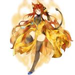 1girl absurdres ahoge aura avaloki black_legwear breasts commentary commission english_commentary full_body gold_dress heterochromia highres large_breasts long_hair mechanical_arm prosthesis prosthetic_arm red_eyes redhead rwby tail wavy_hair yang_xiao_long yellow_eyes