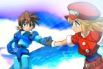 1boy 1girl bangs belt blonde_hair brother_and_sister brown_gloves brown_hair cabbie_hat capcom clouds gloves green_eyes hair_between_eyes hand_holding hat headwear_removed helmet helmet_removed holding holding_helmet ocean red_hat rock_volnutt rockman rockman_dash roll_caskett ryuda siblings sky smile