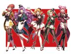 5girls :d arm_behind_back arm_up black_bow black_footwear black_gloves black_hat blonde_hair boots bow breasts brown_hair brown_jacket choker cleavage double_bun dress_shirt earrings eyebrows_visible_through_hair freyja_wion full_body garter_straps gloves green_eyes green_hair green_jacket hair_ornament hat heart heart_hair_ornament high_heel_boots high_heels highlights holding holding_hat holding_microphone jacket jewelry kaname_buccaneer legwear_under_shorts long_hair long_sleeves looking_at_viewer macross macross_delta makina_nakajima medium_breasts microphone microphone_stand mikumo_guynemer miniskirt multicolored_hair multiple_girls open_mouth pants pantyhose pink_eyes pink_hair pink_neckwear pleated_skirt pointy_ears pumps purple_hair redhead reina_prowler shimatani_azu shirt shoe_bow shoes short_hair short_hair_with_long_locks short_shorts shorts sidelocks skirt smile standing standing_on_one_leg thigh-highs thigh_boots tied_hair two-tone_hair very_long_hair violet_eyes white_footwear white_gloves white_legwear white_neckwear white_pants white_shirt white_skirt zettai_ryouiki