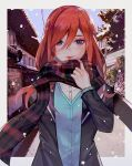 1girl blue_eyes blue_vest border building commentary_request go-toubun_no_hanayome grey_border long_hair looking_at_viewer nakano_miku plaid plaid_scarf redhead scarf smile snow solo vest winter ziiiing