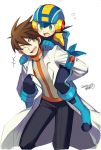 2boys blush brown_eyes brown_hair capcom carrying commentary_request dated green_eyes hair_between_eyes helmet hikari_netto iroyopon labcoat long_sleeves male_focus multiple_boys netnavi older one_eye_closed open_mouth piggyback rockman rockman_exe rockman_exe_(character) signature simple_background white_background