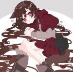 1girl absurdres animal_ears boots bow braid brown_hair commentary_request frilled_sleeves frills grey_shirt hair_between_eyes hair_bow highres komachi_(pixiv) little_red_riding_hood little_red_riding_hood_(grimm) long_hair long_sleeves lying on_side pleated_skirt red_bow red_eyes red_skirt shirt skirt solo tail very_long_hair wolf_ears wolf_tail