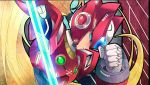 1boy android blonde_hair blue_eyes capcom clenched_hand energy_blade energy_sword guutara head_down helmet long_hair male_focus ponytail robot rockman rockman_x solo sword weapon zero_(rockman)