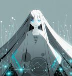 1girl blue_eyes collarbone commentary grey_background long_hair looking_at_viewer monochrome original pananother parted_lips robe sleeves_past_fingers sleeves_past_wrists solo spot_color very_long_hair