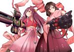 2girls bow breasts brown_hair commentary_request cross_punisher drill_hair frown gun hair_bow harukaze_(kantai_collection) holding holding_weapon japanese_clothes kamikaze_(kantai_collection) kantai_collection kimono long_hair machine_gun medium_breasts meiji_schoolgirl_uniform mokerou multiple_girls pink_kimono pink_ribbon purple_hair red_eyes ribbon simple_background smile trigun twin_drills umbrella violet_eyes weapon white_background