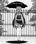1girl belt blood blood_on_face breasts collared_shirt expressionless fence full_body girls_frontline gloves greyscale highres holster jacket_on_shoulders looking_at_viewer miyamoto_issa monochrome necktie outdoors rain shirt skirt sleeves_rolled_up socks solo thigh_holster two_side_up umbrella vest welrod_mk2_(girls_frontline)