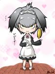 1girl :3 alternate_costume apron bangs bird_tail black_dress black_hair blonde_hair blush_stickers bow bowtie chibi closed_mouth commentary_request dress enmaided eyebrows_visible_through_hair flying_sweatdrops full_body grey_hair hair_between_eyes hair_intakes hand_up heart heart_background holding holding_tray kemono_friends long_sleeves looking_at_viewer low_ponytail maid maid_apron maid_headdress medium_hair multicolored_hair rakugakiraid red_neckwear shoebill_(kemono_friends) side_ponytail signature smile solo standing tray white_apron yellow_eyes