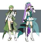 2girls asymmetrical_legwear black_gloves black_legwear black_neckwear boots bow earrings fingerless_gloves full_body gloves green_hair hair_bow hair_ornament hairclip half_gloves high_heel_boots high_heels high_ponytail highlights highres jacket jewelry knee_boots long_sleeves looking_at_viewer macross macross_delta mikumo_guynemer miniskirt multicolored_hair multiple_girls necktie pleated_skirt pointy_ears purple_hair red_eyes reina_prowler shimatani_azu shirt short_hair short_shorts shorts single_thighhigh sketch skirt smile standing thigh-highs thigh_boots white_footwear white_gloves white_jacket white_shorts white_skirt