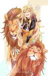 1girl absurdres animal animal_ears bangs blonde_hair closed_mouth cocoka commentary_request dinergate_(girls_frontline) eyebrows_visible_through_hair fang girls_frontline green_eyes hair_between_eyes hairband highres lion lion_ears lion_mane lion_tail long_hair looking_at_viewer messy_hair open_mouth red_eyes s.a.t.8_(girls_frontline) sidelocks smile tail v very_long_hair