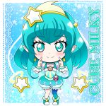 1girl aqua_choker chibi cure_milky earrings hagoromo_lala hair_ornament hairband hikari_(hikari_no_kobako) jewelry magical_girl precure see-through_sleeves single_leg_pantyhose star star_color_pen star_earrings star_hair_ornament star_in_eye star_twinkle_precure symbol_in_eye yellow_earrings yellow_hairband