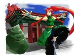 1girl alternate_breast_size alternate_costume alternate_hairstyle architecture baggy_pants bandage bare_shoulders belt blue_eyes braid breasts chinese_clothes commentary_request dress east_asian_architecture fighting_stance flats green_dress hand_wraps highres hong_meiling kung_fu kuriyama5422 long_hair outstretched_arms pants ponytail redhead side_braids sleeveless small_breasts solo spread_arms standing standing_on_one_leg touhou twin_braids very_long_hair