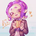 1girl blush box collared_shirt forehead gift gift_box gradient gradient_background head_tilt heart highres holding holding_gift long_sleeves looking_at_viewer medium_hair octarian octoling open_mouth pi_q purple_hair red_eyes shirt short_eyebrows smile solo splatoon_(series) suction_cups tentacle_hair upper_body