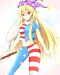 1girl american_flag_legwear american_flag_shirt blonde_hair blue_legwear blue_shirt breasts clownpiece commentary_request cowboy_shot crop_top hat highres jester_cap long_hair looking_at_viewer medium_breasts midriff multicolored multicolored_clothes multicolored_legwear multicolored_shirt musteflott419 navel older pantyhose parted_lips pink_eyes polka_dot polka_dot_hat purple_hat red_legwear red_shirt scarf shirt short_sleeves simple_background solo standing star star_print striped striped_legwear striped_shirt torch touhou white_background white_scarf