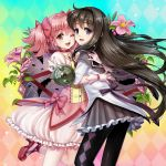 2girls :d ;d akemi_homura aqua_background argyle argyle_background argyle_legwear black_feathers black_hair black_hairband black_legwear blue_background bow_(weapon) bubble_skirt cheek-to-cheek choker eyebrows_visible_through_hair feathers floating_hair flower food frilled_skirt frills fruit gloves gradient gradient_background grapes hairband happy highres hug kaname_madoka leaf leg_up long_hair looking_at_viewer mahou_shoujo_madoka_magica multicolored multicolored_background multiple_girls omochi_pie one_eye_closed open_mouth pink_background pink_eyes pink_flower pink_gloves pink_hair pink_ribbon puffy_sleeves purple_ribbon red_choker red_footwear red_neckwear ribbon ribbon_hair shield shirt skirt smile socks soul_gem twintails upper_body violet_eyes weapon white_legwear white_shirt yellow_background