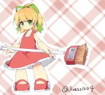 1girl android bangs blonde_hair blush broom capcom child dress eyebrows_visible_through_hair full_body green_eyes hair_ornament hair_ribbon highres holding holding_broom illness1004 long_hair patterned_background ponytail red_dress red_footwear ribbon rockman rockman_(classic) roll sidelocks solo standing twitter_username