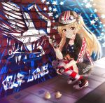 azur_lane bandaid bandaid_on_nose blonde_hair character_request cleveland_(azur_lane) clothing_request collar commentary_request eyewear_on_headwear graffiti hair_ornament hat highres hood hoodie long_hair looking_at_viewer open_clothes open_hoodie paint paint_on_body painting_(object) red_eyes shirt shorts smile squatting star_and_stripes_clothes thigh-highs zweihanderdraws