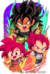 3boys armor artist_name aura biceps black_hair boots broly_(dragon_ball_super) chibi dougi dragon_ball dragon_ball_super dragon_ball_super_broly fighting_stance gloves highres looking_at_viewer motunabe707070 multiple_boys muscle open_hand open_mouth pectorals pelt red_eyes redhead round_teeth scar son_gokuu spiky_hair standing super_saiyan_god teeth v vegeta white_gloves widow's_peak wristband yellow_eyes