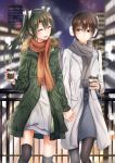 2girls batabata0015 cityscape coat cup dress earmuffs highres interlocked_fingers kaga_(kantai_collection) kantai_collection long_hair multiple_girls pantyhose ribbon scarf side_ponytail smile snow steam thigh-highs twintails winter winter_clothes winter_coat zuikaku_(kantai_collection)