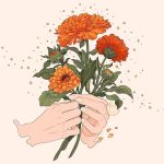 artist_name flower hands holding holding_flower leaf mochipanko orange_flower original plant red_flower sepia_background signature simple_background sparkle star