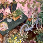 bicycle cup flower food fork ground_vehicle hands highres ladder leaf mochipanko no_humans original out_of_frame pink_flower plant potted_plant sandwich spoon teapot transparent white_flower wood yellow_flower