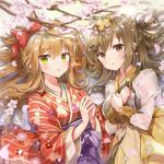 2girls :o bangs blush bow braid breasts brown_eyes brown_hair cherry_blossoms eyebrows_visible_through_hair floral_print flower girls_frontline green_eyes hair_bow hair_ornament japanese_clothes k-2_(girls_frontline) kimono long_hair long_sleeves looking_at_viewer melings_(aot2846) multiple_girls obi own_hands_together parted_lips petals print_kimono red_bow red_kimono rfb_(girls_frontline) sash sidelocks striped striped_kimono tree_branch wide_sleeves