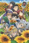 6+boys ;p absurdres animage bird black_hair blonde_hair blue_eyes blue_sky boots bridal_gauntlets brown_footwear cape circlet crescent crescent_hair_ornament daichi_(mahou_x_shounen_x_days!!!!!) el_(mahou_x_shounen_x_days!!!!!) flower gem glasses grass green_eyes grey_cape grey_eyes grey_pants hair_ornament hand_on_another's_head highres hikaru_(mahou_x_shounen_x_days!!!!!) jewelry kawamura_toshie kyoungkang leaf long_hair looking_at_viewer lying magazine_scan magical_boy mahou_x_shounen_x_days!!!!! male_focus mole mole_under_eye multicolored_hair multiple_boys nal_(mahou_x_shounen_x_days!!!!!) non-web_source official_art on_stomach one_eye_closed owl owl_lord pants parted_lips ponytail poster ran_(mahou_x_shounen_x_days!!!!!) red_eyes ring scan scan_artifacts silver_hair sitting sky smile star star_hair_ornament streaked_hair sunflower tablet_pc takuto_(mahou_x_shounen_x_days!!!!!) terawake_kanna tongue tongue_out v very_long_hair yuuki_(mahou_x_shounen_x_days!!!!!)