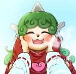 :3 alternate_costume animal_nose blue_sky blush chamaji closed_eyes curly_hair gloves green_hair hakurei_reimu hands_on_another's_face heart horns komano_aun long_hair open_mouth out_of_frame sky smile steam swirl touhou