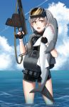 1girl :d absurdres animal animal_hug aps_rifle assault_rifle bangs black_gloves blue_sky brown_eyes character_name clouds cloudy_sky day diving_mask diving_mask_on_head eyebrows_visible_through_hair fang fingerless_gloves girls_frontline gloves grey_hair gun hair_between_eyes hand_up highres holding holding_gun holding_weapon horizon looking_at_viewer ndtwofives ocean one_side_up open_mouth original outdoors rifle shark short_sleeves sky smile solo standing trigger_discipline twitter_username wading water weapon wet wetsuit