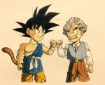 2boys arm_at_side beige_background belt black_eyes black_hair clenched_hand dougi dragon_ball dragon_ball_gt facial_hair fingernails fist_bump frown grey_hair highres kuririn lee_(dragon_garou) long_sleeves looking_at_another male_focus multiple_boys mustache necktie older pants shaded_face shirt short_hair simple_background smile son_gokuu spiky_hair standing tail torn_clothes upper_body vest white_shirt