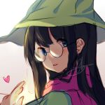 1girl black_hair blue_eyes blush deltarune glasses hat heart highres janineuy09 long_hair looking_at_viewer looking_back ralsei scarf