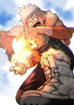 1boy 55level alternate_costume arm_on_knee arm_tattoo bakugou_katsuki black_legwear blonde_hair boku_no_hero_academia boots cape clouds commentary_request day detached_sleeves earrings evil_grin evil_smile foot_out_of_frame from_ground fur-trimmed_boots fur_trim grin highres jewelry knees light looking_at_viewer looking_down male_focus open_mouth outdoors pants red_eyes short_sleeves sky smile solo spiky_hair tattoo tongue upper_teeth v-shaped_eyebrows white_footwear