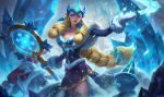 1girl alternate_costume alternate_eye_color alternate_hair_color bare_shoulders big_hair bird blue_dress blue_eyes braid breasts carrot cleavage commentary dress drill earrings english_commentary fur_trim hat helmet highres horn horned_helmet ice ice_crystal icicle jewelry kilart league_of_legends lips long_hair low_twintails magic making_of mittens nose official_art pointy_ears santa_hat single_braid snowflakes snowing snowman solo_focus soraka thigh-highs twintails very_long_hair wand winter_wonder_soraka zettai_ryouiki