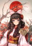 1girl absurdres bangs black_hair blue_eyes blush bow cherry_blossoms closed_mouth commentary_request drill_hair ema eyebrows_visible_through_hair flower girls_frontline hair_flower hair_ornament hair_ribbon hand_on_own_chest hands_up highres holding howa_type_64_(girls_frontline) japanese_clothes japanese_flag kimono long_hair obi petals pink_bow pink_kimono ribbon sash sidelocks smile solo tree tree_branch trrcmb upper_body