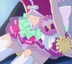 1girl cure_yell haruyama_kazunori head_out_of_frame hugtto!_precure magical_girl navel nono_hana precure sitting solo thigh-highs white_legwear